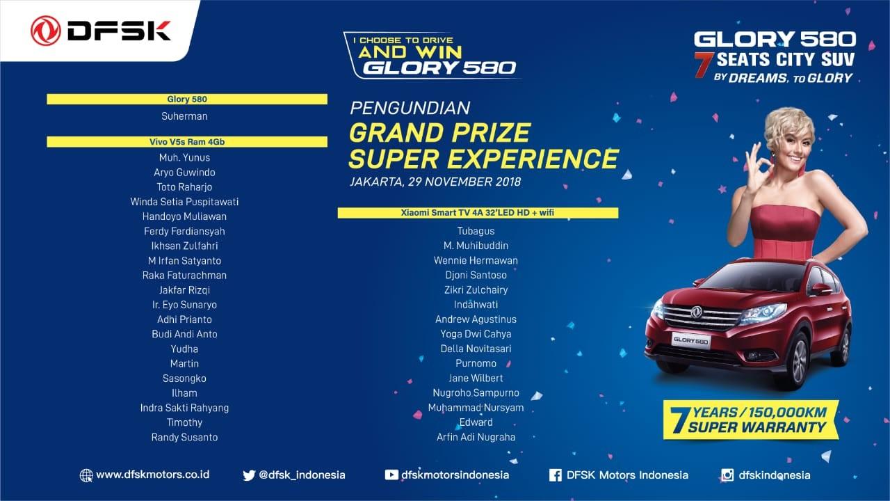 Pengundian Lucky Draw Berhadiah Glory 580 Sebagai Puncak Program DFSK Super Experience Activity